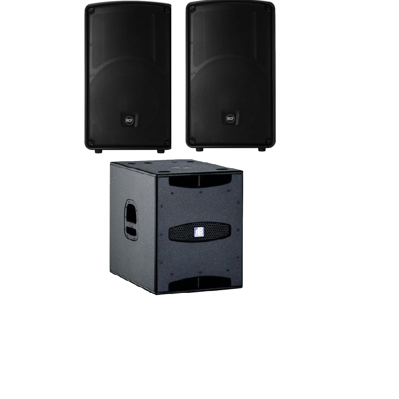 Geluidsinstallatie RCF HD 12-A en DB SUB15D
